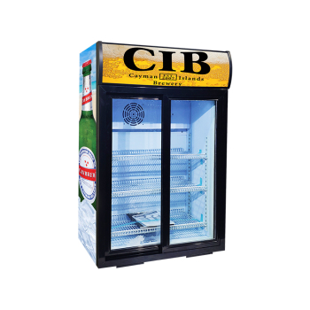Meisda SC105L 84 Can 3.7 cu.ft Upright Cooler with Sliding Door and Merchandising Panel 24.8""