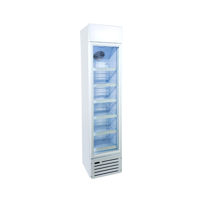 Meisda SC145B 120 Can 5.1 cu.ft Slimline Upright Cooler with Branded Lamp Box 16.5""