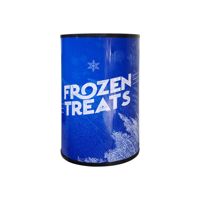"""Frozen Treats SD80Y 2.8 cu.ft Barrel Can Mobile Freezing Cabinet with  Branded Sticker 21"""""""