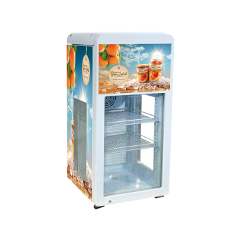"Juice Display SC68T 60 Can 2.4 cu.ft 3-Side Transparent Glass Door Impluse Cooler 18.2 """