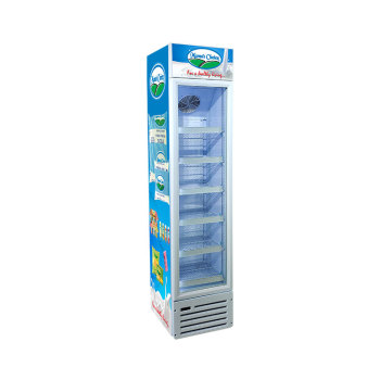 Chocolate Display SC145B 120 Can 5.1 cu.ft Slimline Upright Cooler with Branded Lampbox 16.5""