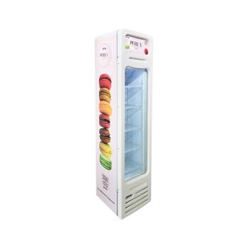 "Perly Macaron SD105BG 3.8 cu.ft Vertical Slimline Icecream Freezer with Curved Design 16.5"""