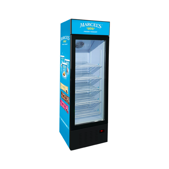 """Jal Ice-Cream SD235BG 8.3 cu.ft Free-Standing Freezer with Swing Door and 3-Sided HD Printed Sticker 23"""""""