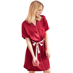 Wholesale Wedding Women Bridal Robe Super Soft 100% Silk Night Gown Red Stain Robe