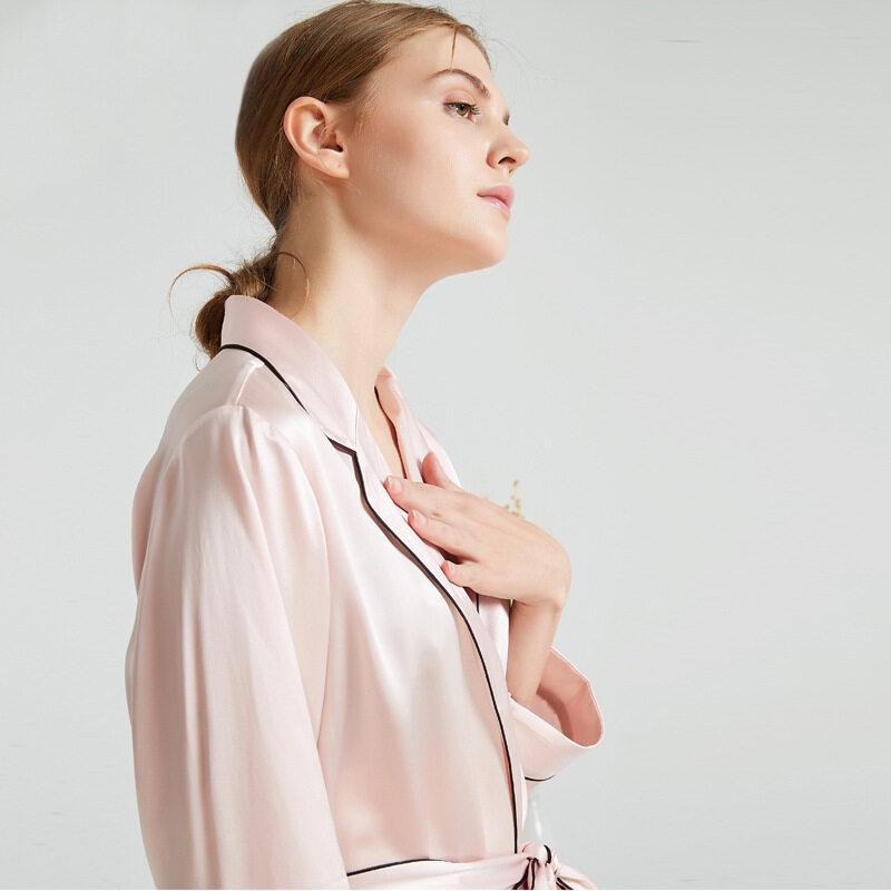 Women Pure Silk Pink Satin Kimono Robe with Piping