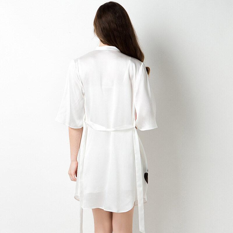 Women's White 100% Silk Kimono Satin Robe Set