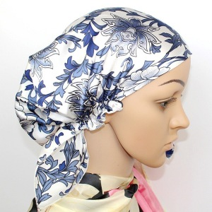 Curly Hair Silk Bonnet With Floral Printing