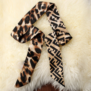 Multi-use Leopard Print Silk Hair Band Handbag Scarf