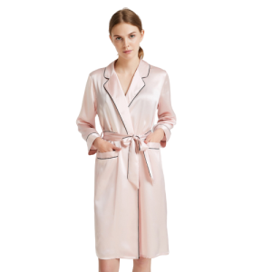 Wholesale Long Pink Pure Silk Robe with Piping