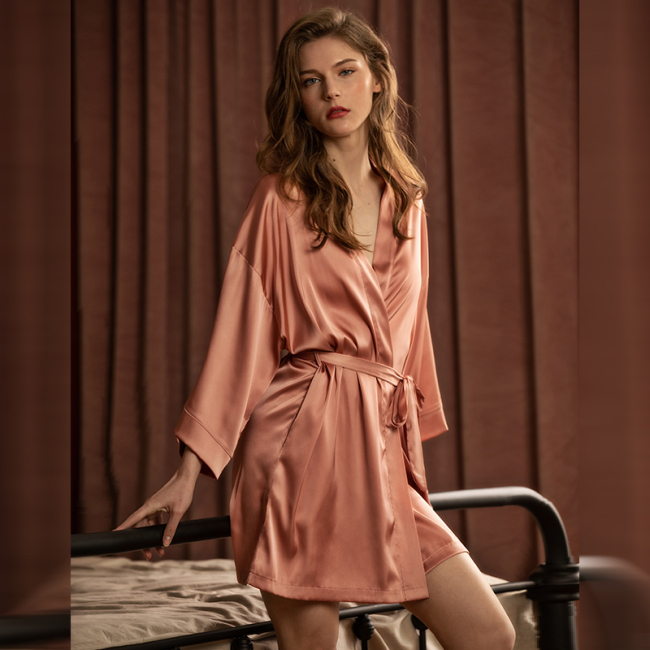 Long Sleeve Women Sexy Mulbury Silk Satin Robes