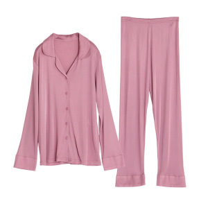 Women's Knitted Silk Sleepwear Sexy Super Breathable Pink Knit Pure Silk Pajamas