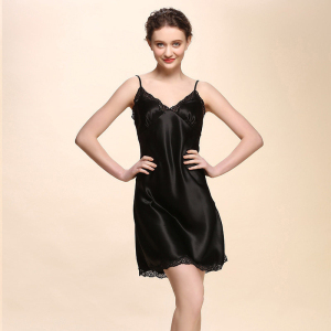 Wholesale Fancy Girls Womens Sexi Night Wear Sexy 100% Silk Nightgown