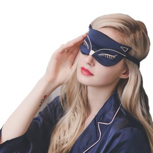 Fox Pattern Embroidered Silk Sleep Eye Mask