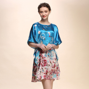 Womens Luxury Nightwear Floral Silk Dressing Gown