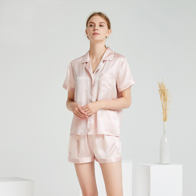 Two Pieces Bulk Silk Satin Short Pajamas Set