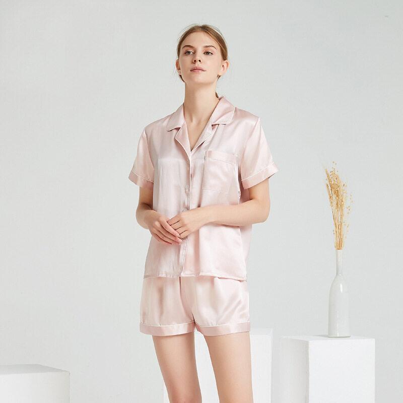 Two Pieces Bulk Silk Satin Short Pajamas Set