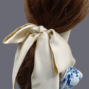 Women Fashion Elastic Hair Accessories Ponytail Holders 100% Silk Scarf Scrunchies