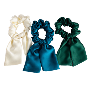 Rabbit Ears Silk Hair Bow Scrunchies