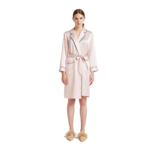 Women Pure Silk Pink Satin Kimono Robe with Piping