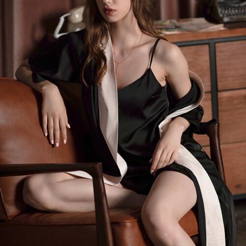 Sexy 2 Piece Silk Satin Robe Pajama Dress