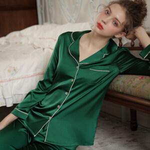 Long Sleeve Sleep Wear Mulbery Silk Pajamas
