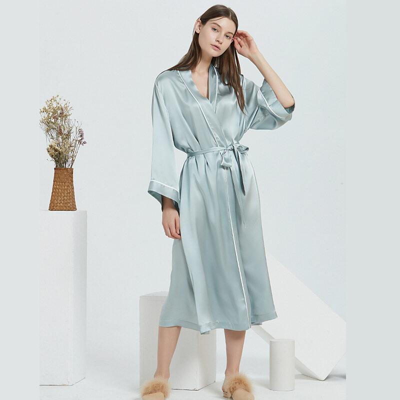 Wholesale V Neck Silk Long Robes For Women