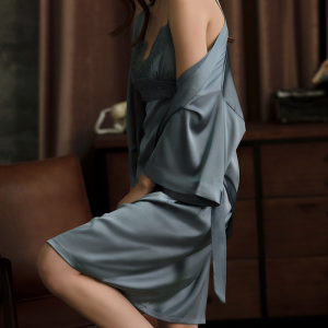 Solid Color V-neck Natural 100% Silk Robe