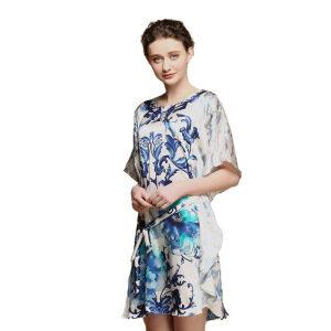 Womens Luxury Nightwear Floral Silk Dressing Gown