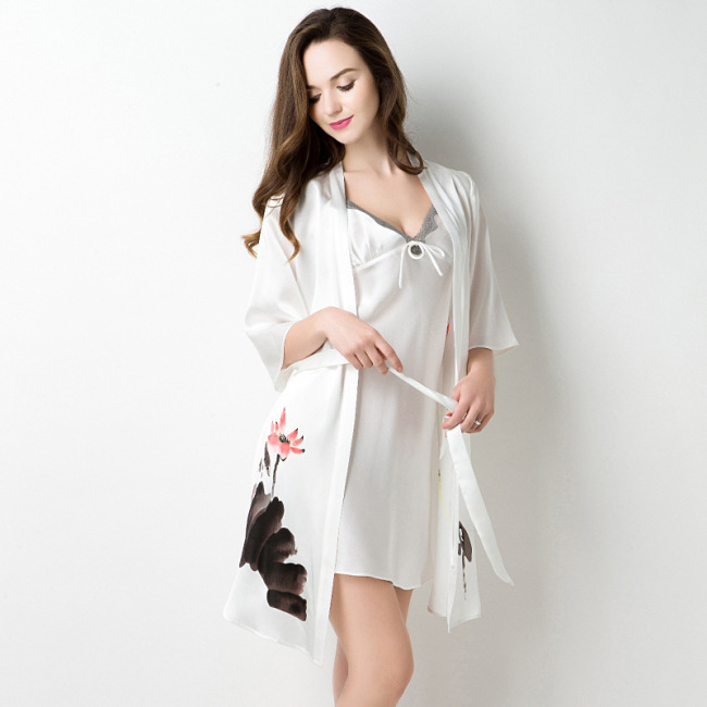 Women's White 100% Silk Kimono Satin Robe Set
