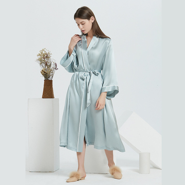 Wholesale V Neck Silk Long Robes For Women