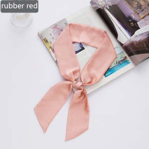Ribbon Scarf Leopard Printed Small Silk Skinny Scarf