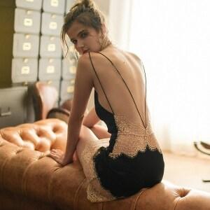 Lace Lingerie Silk Night Dress For Women