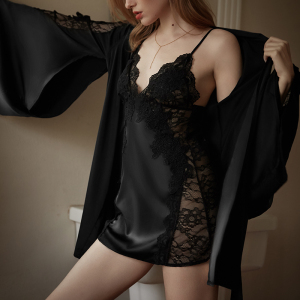 Two Pieces Silk Satin Lace Robe Set