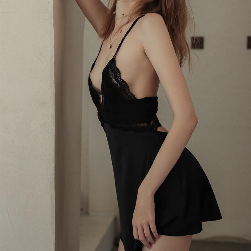 Womans Sleeveless Sexy Silk Satin Nightgown