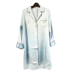 Womens Silk Dressing Gown Shirt Nightgown