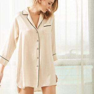 Womens Silk Dressing Gown Shirt Nightgown