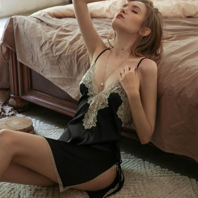 Luxurious Charmeuse Silk Nightgown With Lace