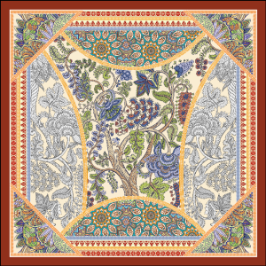 Plants Design Double-sides Print 16 Momme Silk Twill Scarf