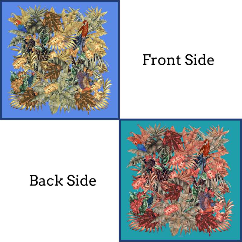 Birds And Plants Double-sides Print 16 Momme Silk Twill Scarf