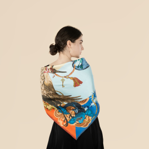 Crane Design Double-sided Printing 19 Momme Silk Twill Scarf