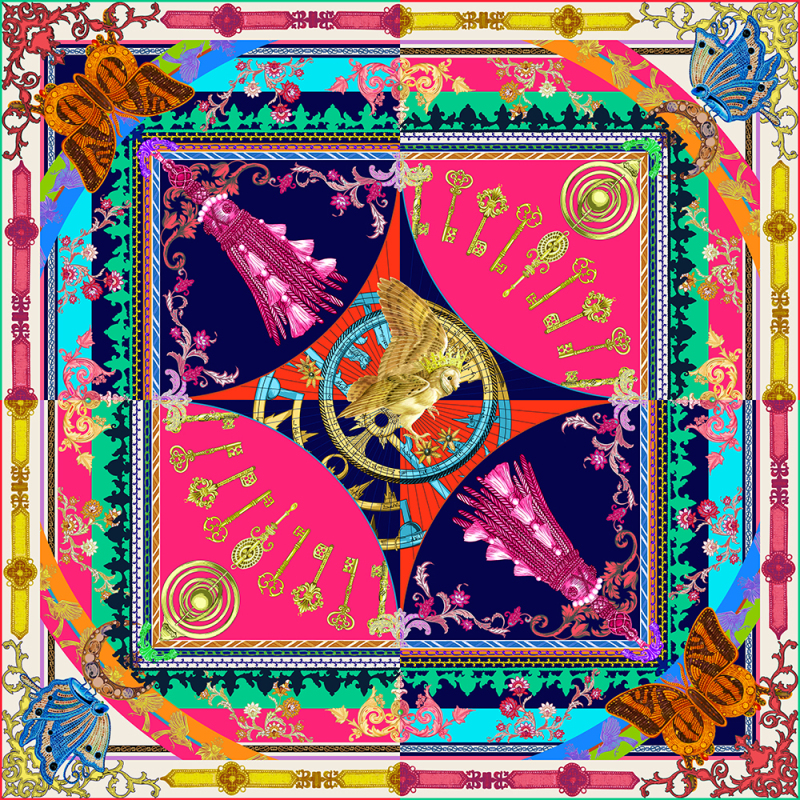 """""""Magic world"""" Double-sided Printing 19 Momme Silk Twill Scarf"""