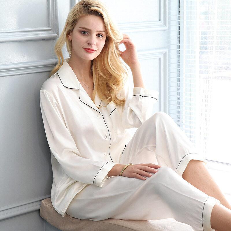Basic Style Silk Pajama Set