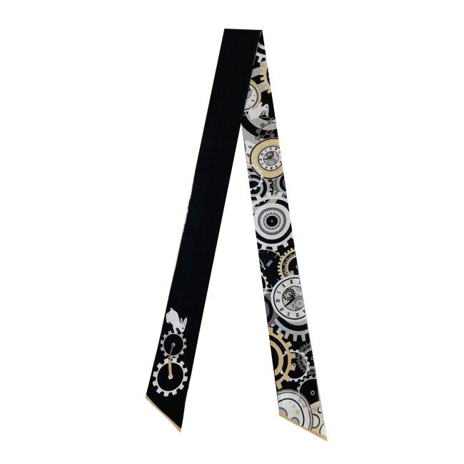 Gearwheel Design Silk Twill Skinny Scarf
