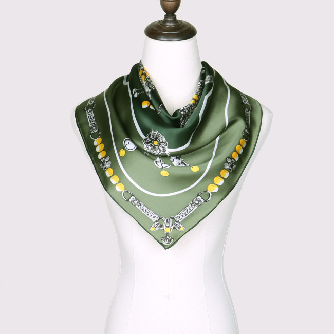 Ladies Scarves Head Wrap Square Satin Silk Foulard