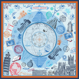 """""""Global Travels"""" Double-sided Printing 19 Momme Silk Twill Scarf"""