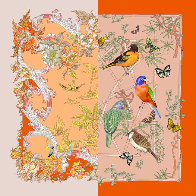 Birds And Flowers Double-sided Printing 19 Momme Silk Twill Scarf