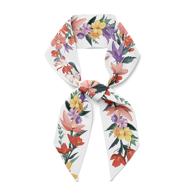 Floral Design 16 Momme Silk Twill Scarf