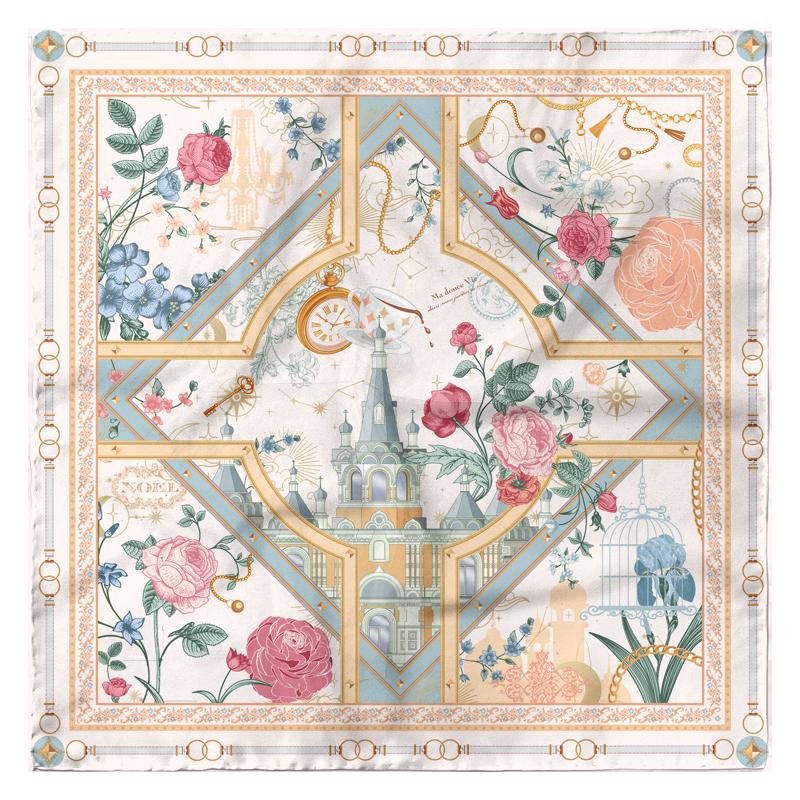 Vintage Rose Design 90*90cm 16 Momme Silk Twill Scarf