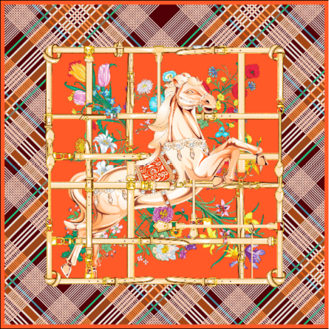 Horse Design Double-sides Print 16 Momme Silk Twill Scarf
