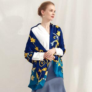 Digital Printed Blue Silk Scarves Shawls
